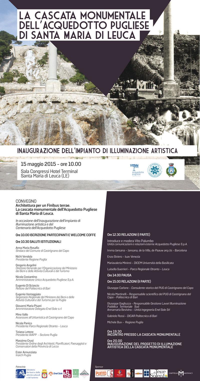 Locandina inaugurazione illuminazione Casacata Monumentale Santa Maria di Leuca