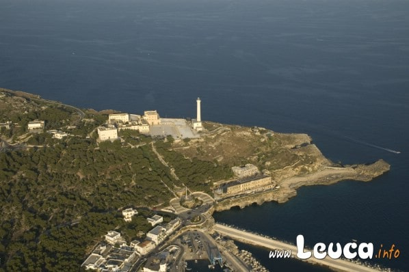Vista aerea di Santa Maria di Leuca zona santuario Faro di Leuca