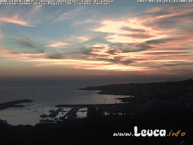 Magnifico Tramonto di Leuca webcam 19 Gennaio 2012