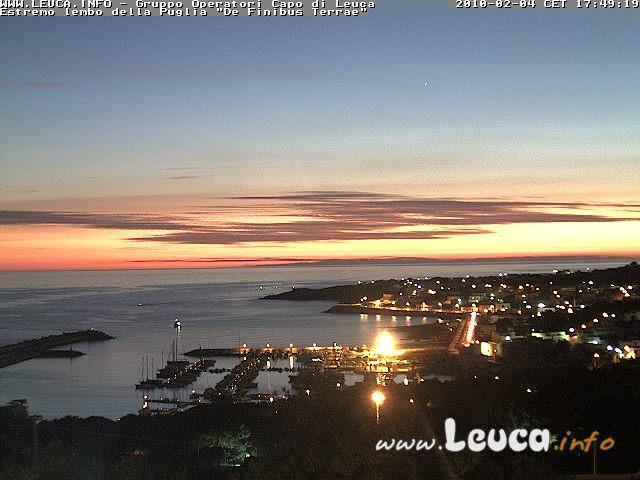 Foto tramonto ripresa dalla WebCam di Santa Maria di Leuca 04 Febbraio 2010