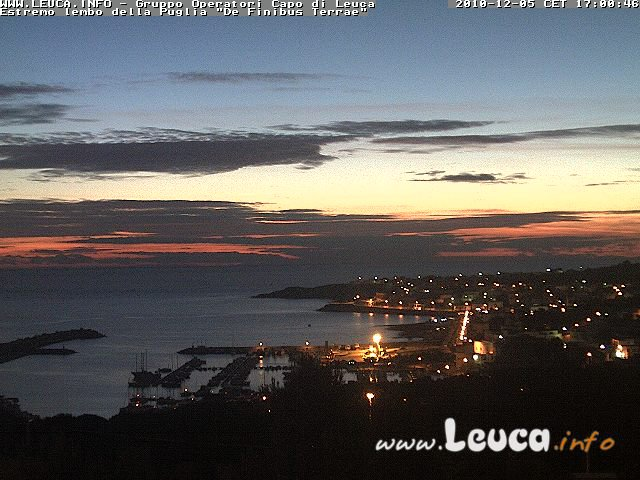 Foto ripresa dalla WebCam di Santa Maria di Leuca 05 Dicembre 2010